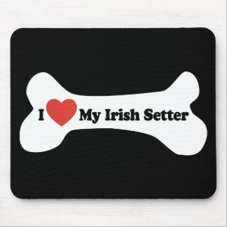 私は私のアイリッシュセッター-犬用の骨--を愛します マウスパッド