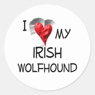 私は私のアイリッシュ・ウルフハウンドを愛します ラウンドシール