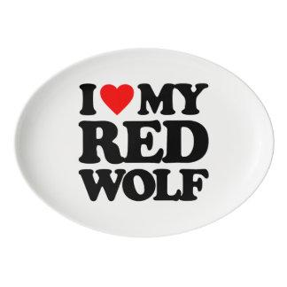 私は私のアメリカアカオオカミを愛します 磁器大皿