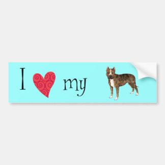 私は私のアメリカ(犬)スタッフォードテリアを愛します バンパーステッカー