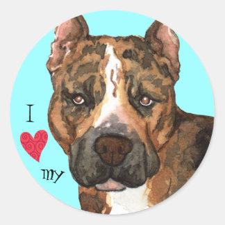 私は私のアメリカ(犬)スタッフォードテリアを愛します ラウンドシール