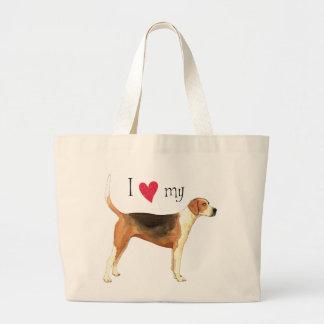 私は私のアメリカFoxhoundを愛します ラージトートバッグ