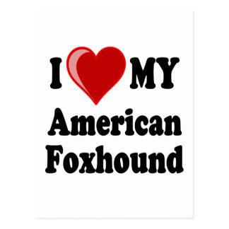 私は私のアメリカFoxhound犬を愛します ポストカード