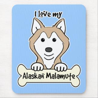 私は私のアラスカンマラミュートを愛します マウスパッド