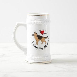私は私のアルザス犬を愛します ビールジョッキ