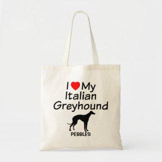 私は私のイタリアン・グレーハウンド犬のバッグを愛します トートバッグ