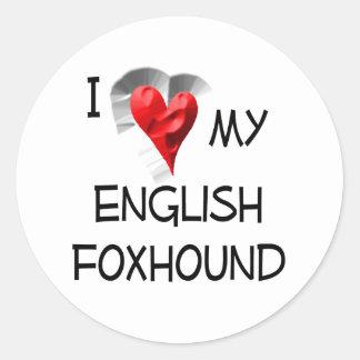 私は私のイングリッシュ・フォックスハウンドを愛します ラウンドシール