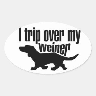 私は私のウインナー犬につまずきます 楕円形シール