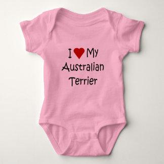 私は私のオーストラリアンテリア犬の恋人のワイシャツを愛します ベビーボディスーツ