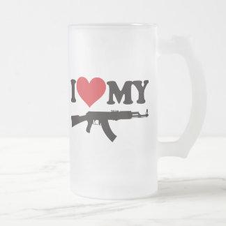 私は私のカラシニコフ自動小銃を愛します フロストグラスビールジョッキ