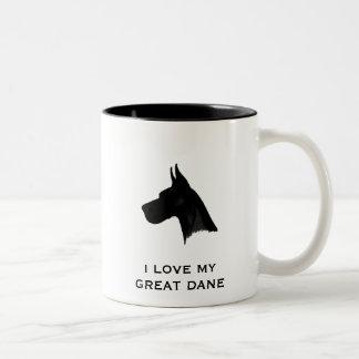 私は私のグレートデーンを愛します ツートーンマグカップ