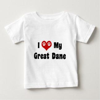 私は私のグレートデーンを愛します ベビーTシャツ
