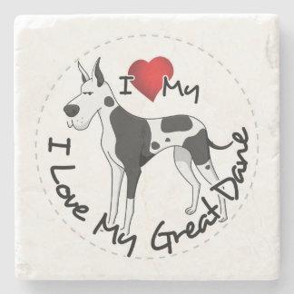 私は私のグレートデーン犬を愛します ストーンコースター