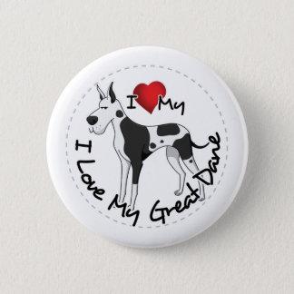 私は私のグレートデーン犬を愛します 5.7CM 丸型バッジ