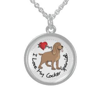 私は私のコッカースパニエル犬を愛します スターリングシルバーネックレス