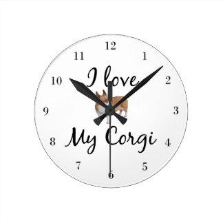 私は私のコーギーを愛します ラウンド壁時計