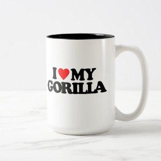 私は私のゴリラを愛します ツートーンマグカップ