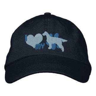 私は私のゴードンセッターの刺繍された帽子を愛します(青い) 刺繍入りキャップ