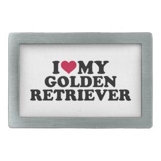 私は私のゴールデン・リトリーバーを愛します 長方形ベルトバックル