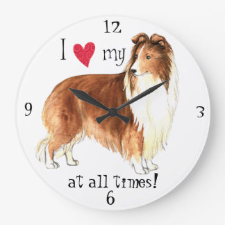 私は私のシェットランド・シープドッグを愛します ラージ壁時計