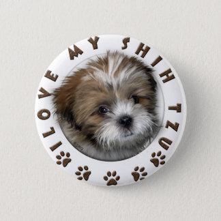私は私のシーズー(犬)のTzu柔らかいペットデザインを愛します 缶バッジ
