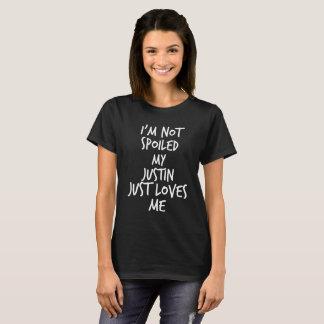 私は私のジャスティンちょうど愛します私をだめになりません Tシャツ