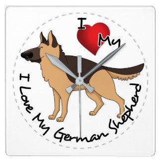 私は私のジャーマン・シェパード犬を愛します スクエア壁時計