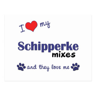私は私のスキッパーキを混合します愛します(多数犬) ポストカード