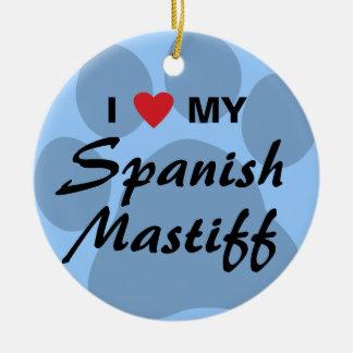 私は私のスペインのなマスティフPawprintを愛します セラミックオーナメント