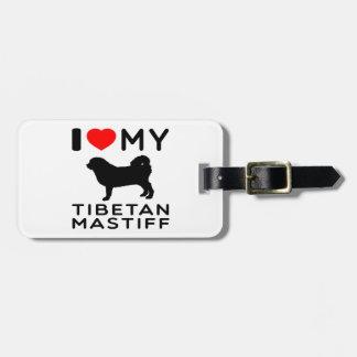 私は私のチベタン・マスティフを愛します ラゲッジタグ