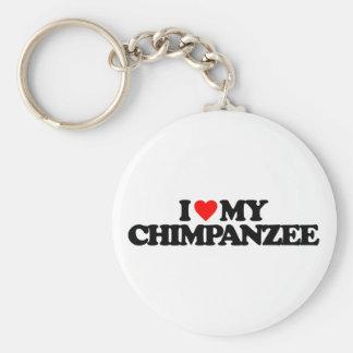 私は私のチンパンジーを愛します ベーシック丸型缶キーホルダー