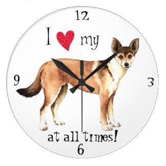 私は私のノルウェーのLundehundを愛します ラージ壁時計