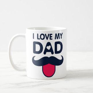 私は私のパパのかわいい髭アイコンを愛します コーヒーマグカップ