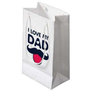 私は私のパパのかわいい髭アイコンを愛します スモールペーパーバッグ