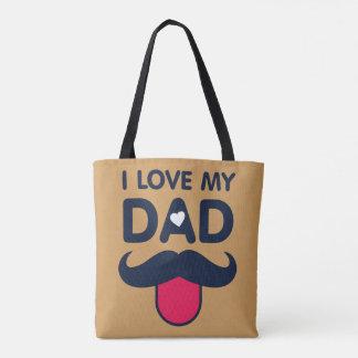 私は私のパパのかわいい髭アイコンを愛します トートバッグ