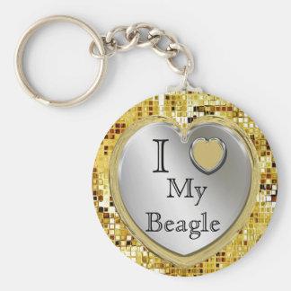 私は私のビーグル犬をまたは愛しますか。 ハートKeychain キーホルダー