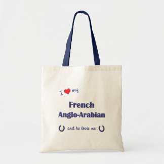 私は私のフランスのな英国アラビアを愛します(雄の馬) トートバッグ