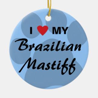 私は私のブラジルのマスティフPawprintを愛します セラミックオーナメント