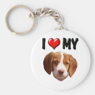 私は私のブリッタニースパニエル犬を愛します キーホルダー