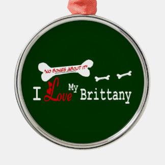私は私のブリッタニースパニエル犬を愛します メタルオーナメント