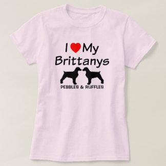 私は私のブリッタニー2匹の犬のワイシャツを愛します Tシャツ