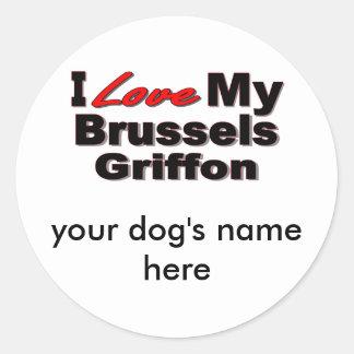 私は私のブリュッセルGriffon犬の商品を愛します ラウンドシール
