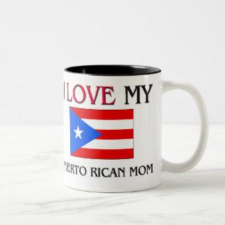 私は私のプエルトリコのお母さんを愛します ツートーンマグカップ