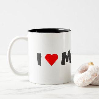 私は私のボストンテリアのマグを愛します ツートーンマグカップ