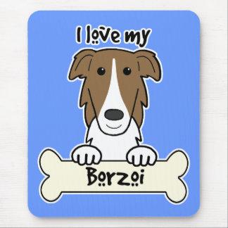 私は私のボルゾイを愛します マウスパッド