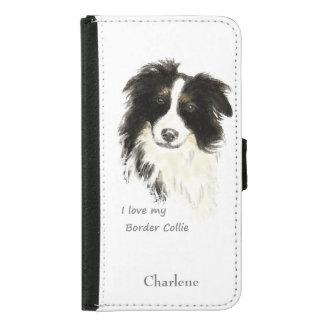 私は私のボーダーコリーの飼い犬の水彩画の引用文を愛します GALAXY S5 ウォレットケース