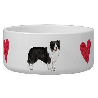 私は私のボーダーコリーを愛します 犬用ご飯皿