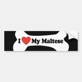 私は私のマルチーズ-犬用の骨--を愛します バンパーステッカー