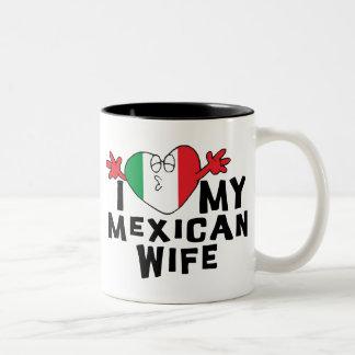 私は私のメキシコ妻を愛します ツートーンマグカップ