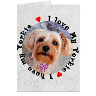 私は私のヨークシャーテリアのメスのヨークシャテリア犬を愛します カード